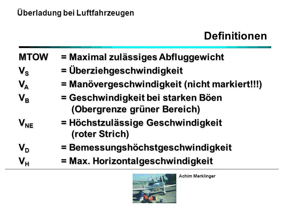 Achim Merklinger Überladung bei Luftfahrzeugen MTOW= Maximal zulässiges Abfluggewicht V S = Überziehgeschwindigkeit V A = Manövergeschwindigkeit (nicht markiert!!!) V B = Geschwindigkeit bei starken Böen (Obergrenze grüner Bereich) V NE = Höchstzulässige Geschwindigkeit (roter Strich) V D = Bemessungshöchstgeschwindigkeit V H = Max.