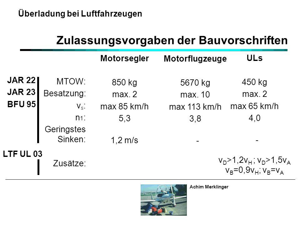 Achim Merklinger Überladung bei Luftfahrzeugen Zulassungsvorgaben der Bauvorschriften Motorsegler 850 kg max. 2 max 85 km/h 5,3 1,2 m/s Motorflugzeuge