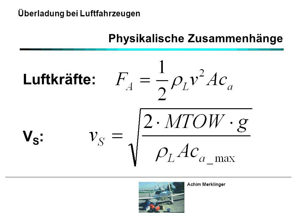 Achim Merklinger Überladung bei Luftfahrzeugen Physikalische Zusammenhänge Luftkräfte: V S :