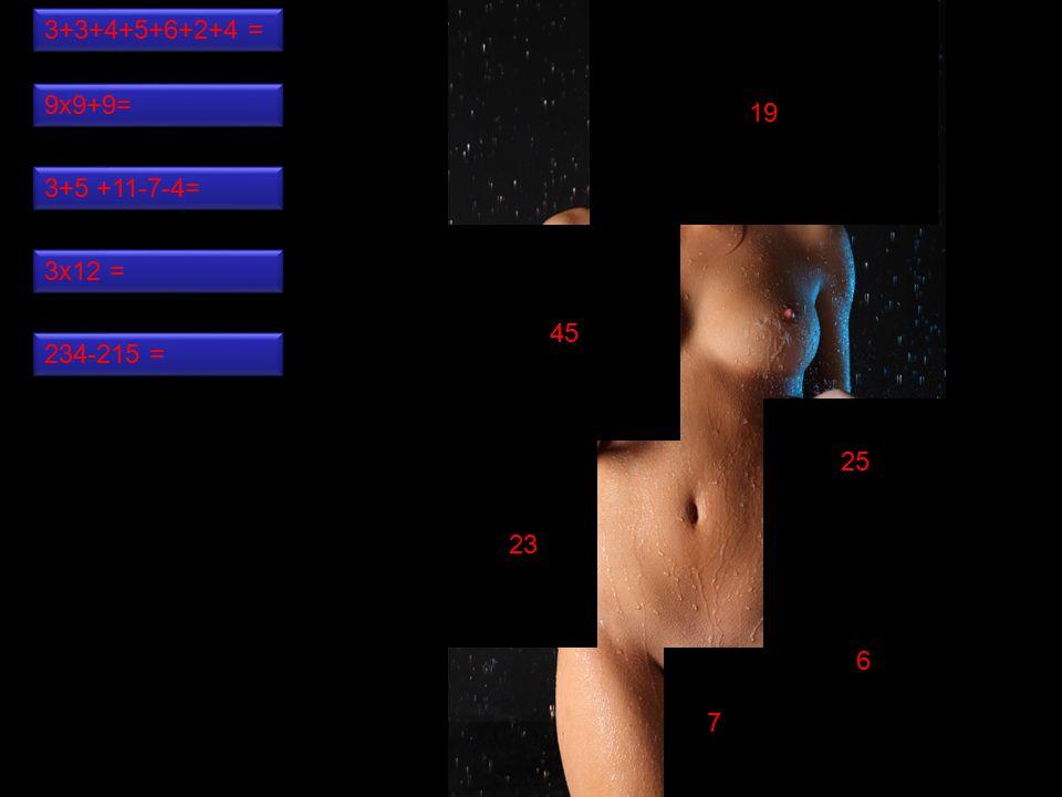 7 25 6 45 19 23 3+3+4+5+6+2+4 = 234-215 = 3x12 = 3+5 +11-7-4= 9x9+9=