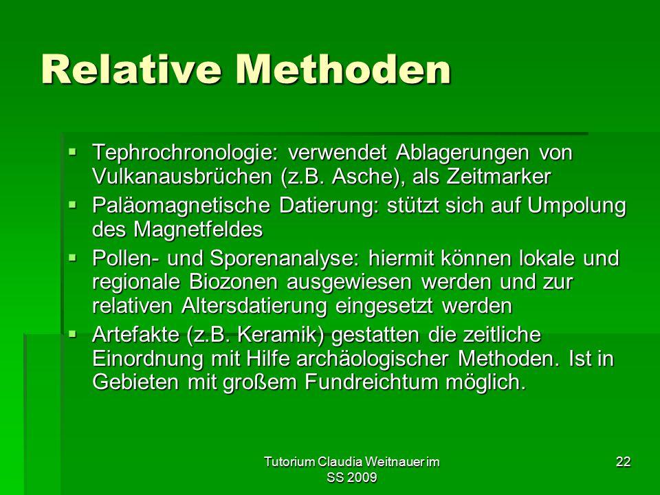 Tutorium Claudia Weitnauer im SS 2009 22 Relative Methoden  Tephrochronologie: verwendet Ablagerungen von Vulkanausbrüchen (z.B. Asche), als Zeitmark