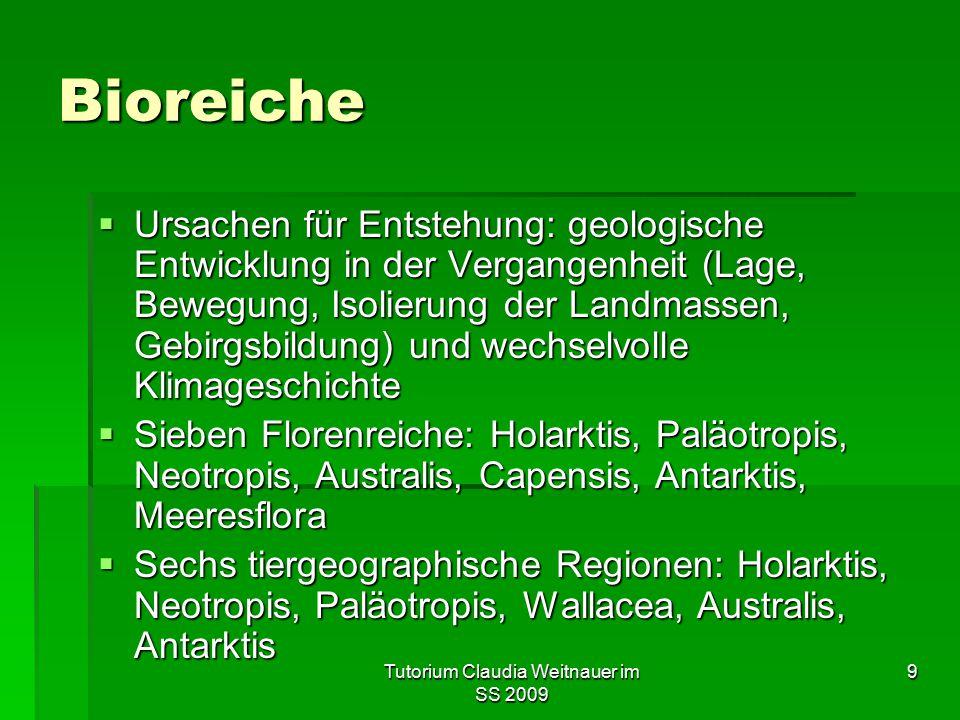 Tutorium Claudia Weitnauer im SS 2009 9 Bioreiche  Ursachen für Entstehung: geologische Entwicklung in der Vergangenheit (Lage, Bewegung, Isolierung