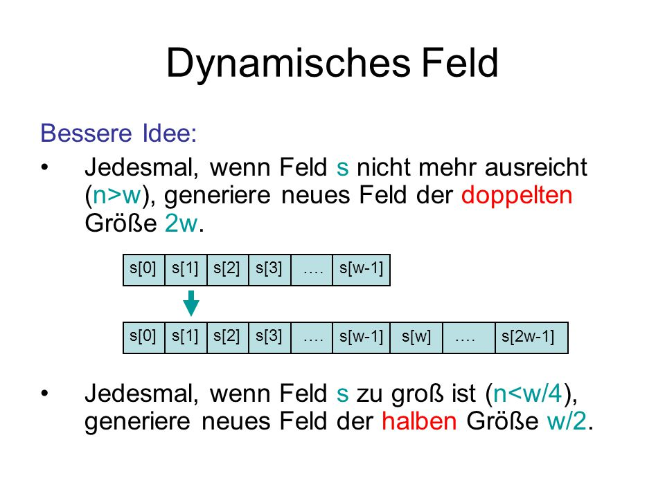 Dynamisches Feld Bessere Idee: Jedesmal, wenn Feld s nicht mehr ausreicht (n>w), generiere neues Feld der doppelten Größe 2w.