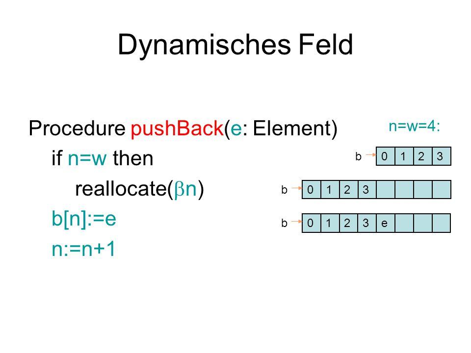 Dynamisches Feld Procedure pushBack(e: Element) if n=w then reallocate(  n) b[n]:=e n:=n+1 0123b 0123b 012eb3 n=w=4: