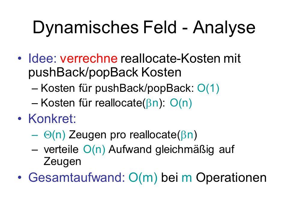 Dynamisches Feld - Analyse Idee: verrechne reallocate-Kosten mit pushBack/popBack Kosten –Kosten für pushBack/popBack: O(1) –Kosten für reallocate( 