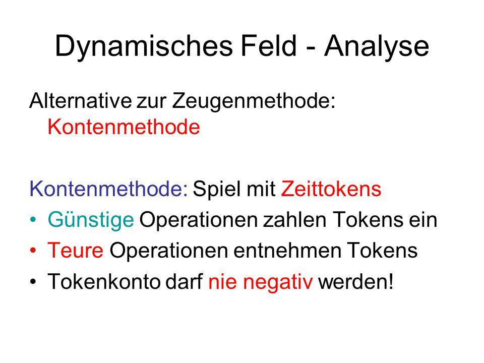 Dynamisches Feld - Analyse Alternative zur Zeugenmethode: Kontenmethode Kontenmethode: Spiel mit Zeittokens Günstige Operationen zahlen Tokens ein Teu