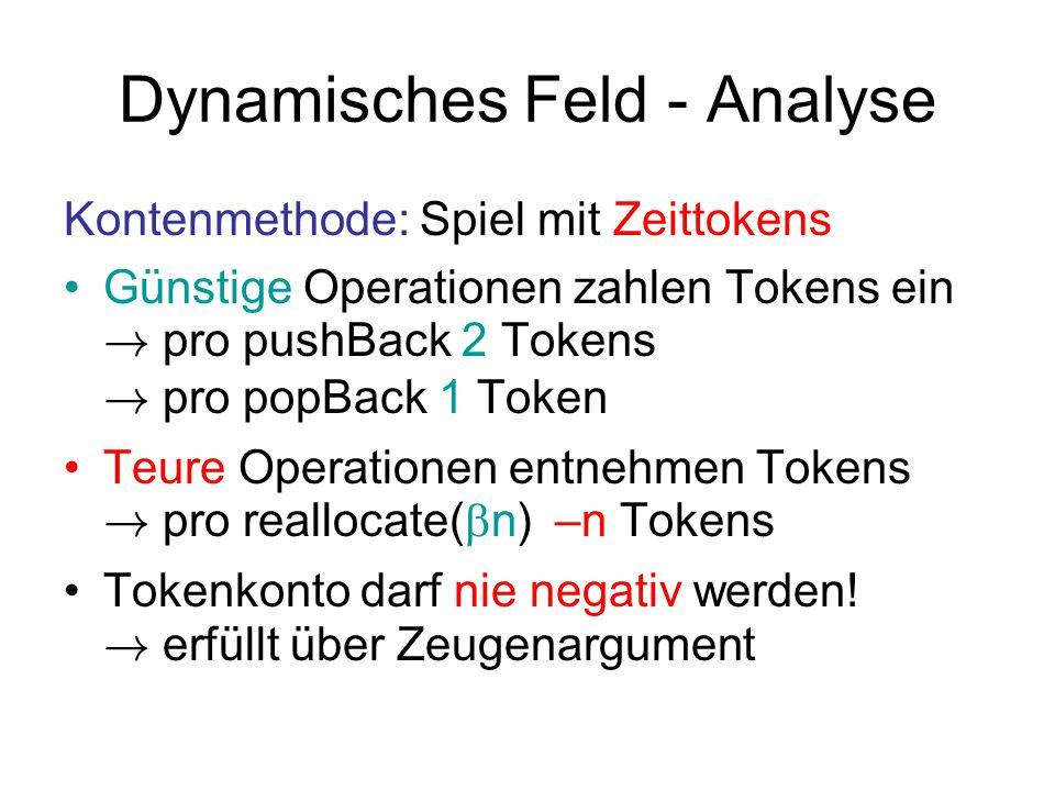 Dynamisches Feld - Analyse Kontenmethode: Spiel mit Zeittokens Günstige Operationen zahlen Tokens ein ! pro pushBack 2 Tokens ! pro popBack 1 Token Te