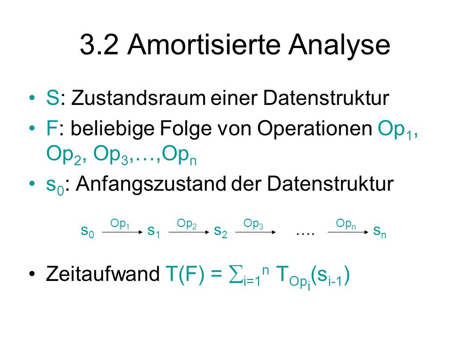 3.2 Amortisierte Analyse S: Zustandsraum einer Datenstruktur F: beliebige Folge von Operationen Op 1, Op 2, Op 3,…,Op n s 0 : Anfangszustand der Datenstruktur Zeitaufwand T(F) =  i=1 n T Op i (s i-1 ) s0s0 Op 1 s1s1 Op 2 s2s2 Op 3 snsn Op n ….
