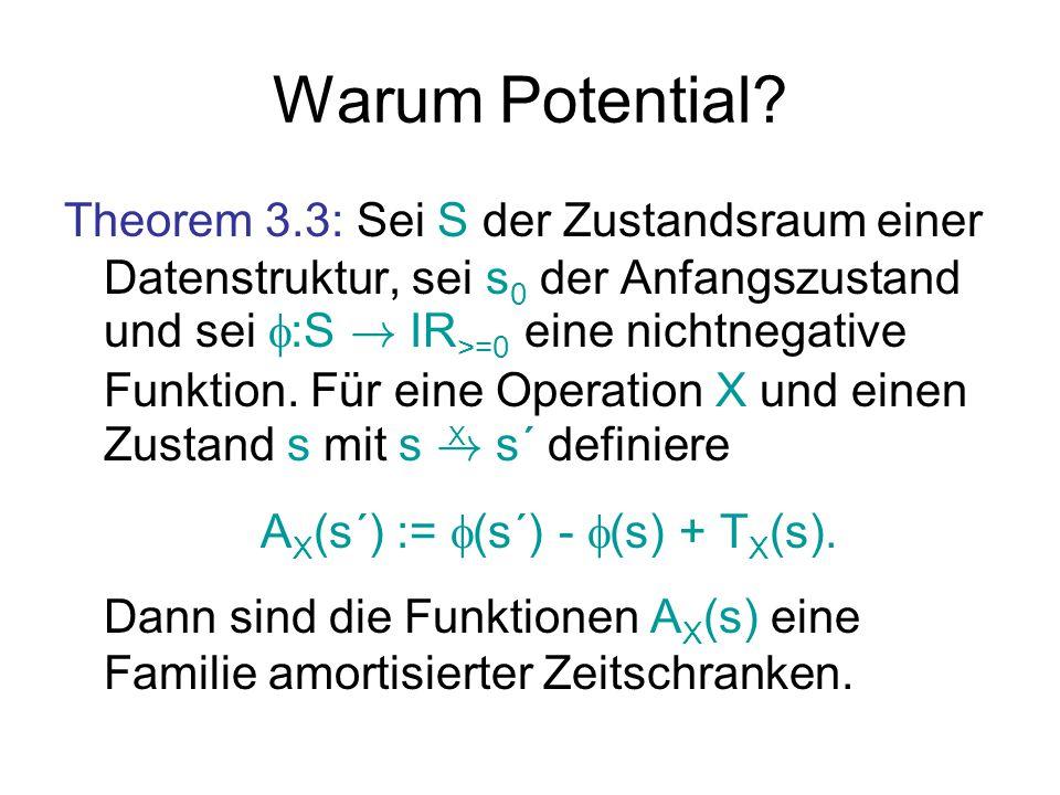 Warum Potential? Theorem 3.3: Sei S der Zustandsraum einer Datenstruktur, sei s 0 der Anfangszustand und sei  :S ! IR >=0 eine nichtnegative Funktion