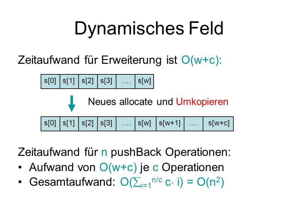 Dynamisches Feld Zeitaufwand für Erweiterung ist O(w+c): Zeitaufwand für n pushBack Operationen: Aufwand von O(w+c) je c Operationen Gesamtaufwand: O(  i=1 n/c c ¢ i) = O(n 2 ) s[0]s[1]s[2]s[3]s[w]….