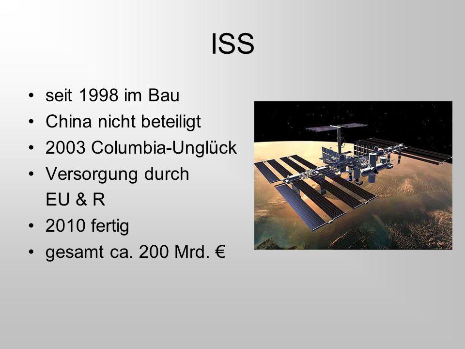 ISS seit 1998 im Bau China nicht beteiligt 2003 Columbia-Unglück Versorgung durch EU & R 2010 fertig gesamt ca. 200 Mrd. €
