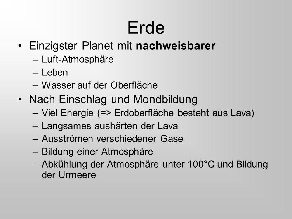 Erde Einzigster Planet mit nachweisbarer –Luft-Atmosphäre –Leben –Wasser auf der Oberfläche Nach Einschlag und Mondbildung –Viel Energie (=> Erdoberfl