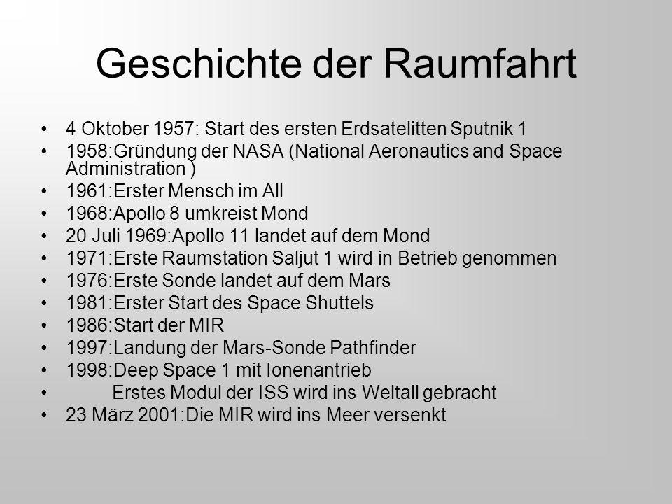 Geschichte der Raumfahrt 4 Oktober 1957: Start des ersten Erdsatelitten Sputnik 1 1958:Gründung der NASA (National Aeronautics and Space Administratio