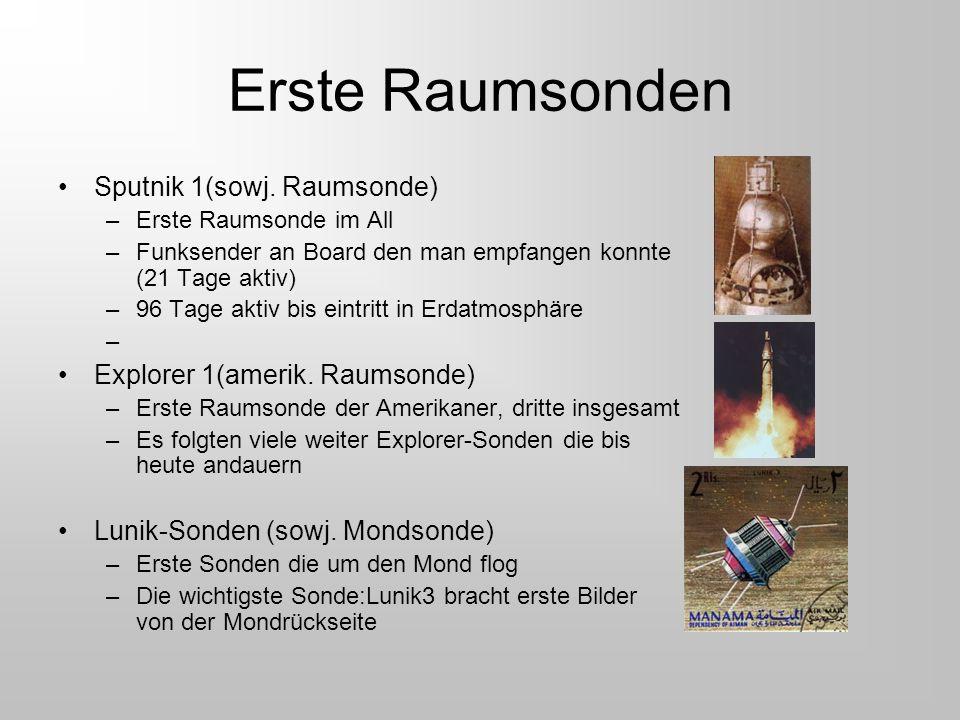 Erste Raumsonden Sputnik 1(sowj. Raumsonde) –Erste Raumsonde im All –Funksender an Board den man empfangen konnte (21 Tage aktiv) –96 Tage aktiv bis e