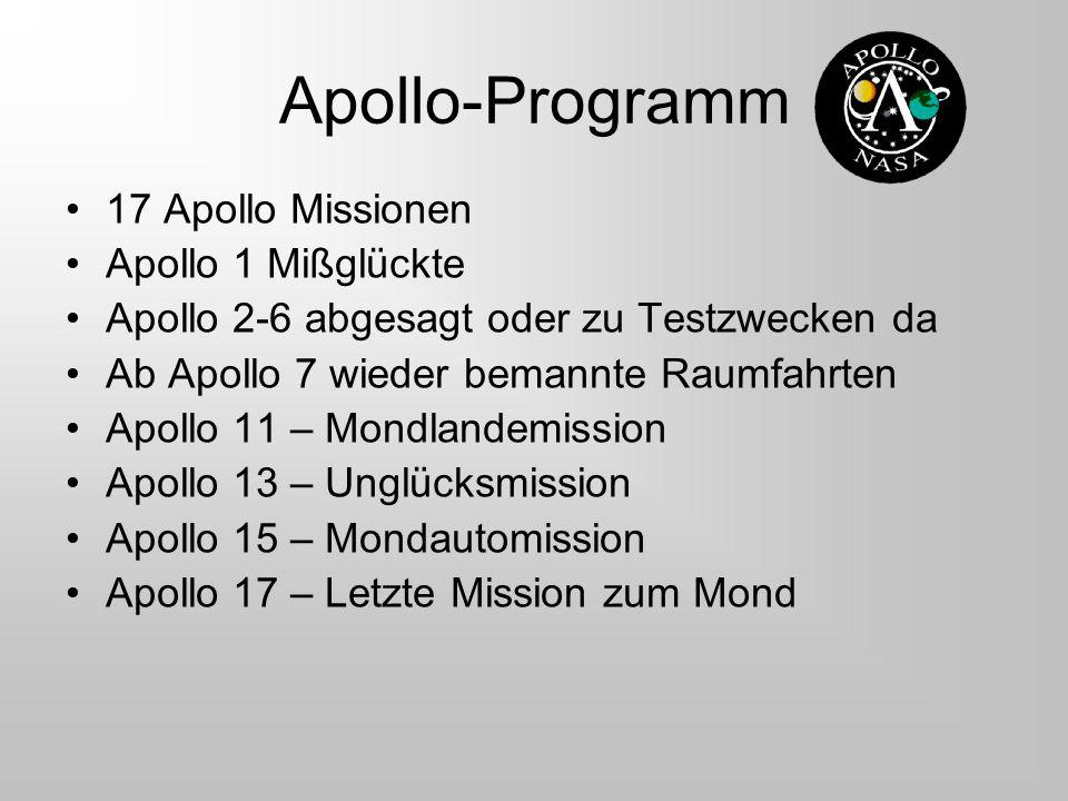 Apollo-Programm 17 Apollo Missionen Apollo 1 Mißglückte Apollo 2-6 abgesagt oder zu Testzwecken da Ab Apollo 7 wieder bemannte Raumfahrten Apollo 11 –