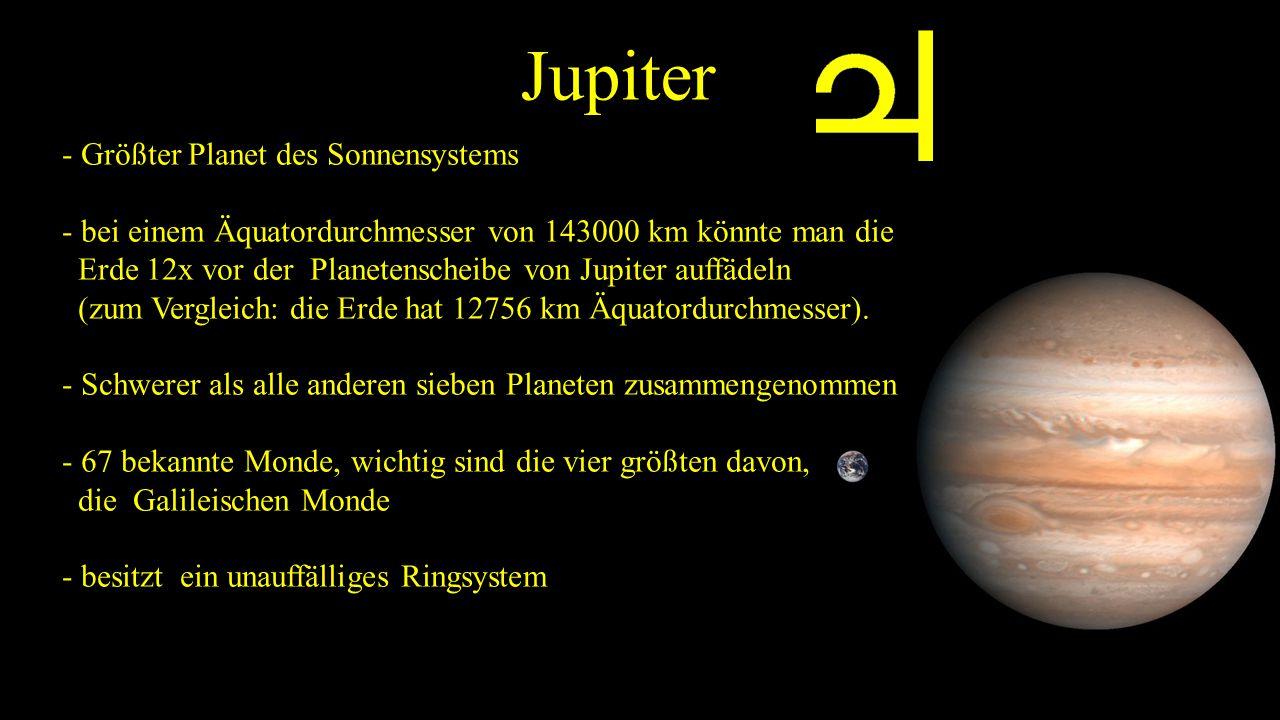 Jupiter - Größter Planet des Sonnensystems - bei einem Äquatordurchmesser von 143000 km könnte man die Erde 12x vor der Planetenscheibe von Jupiter auffädeln (zum Vergleich: die Erde hat 12756 km Äquatordurchmesser).