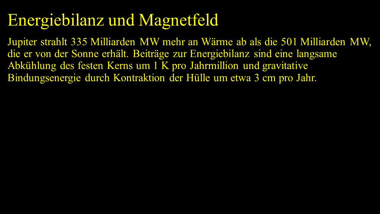 Energiebilanz und Magnetfeld Jupiter strahlt 335 Milliarden MW mehr an Wärme ab als die 501 Milliarden MW, die er von der Sonne erhält.