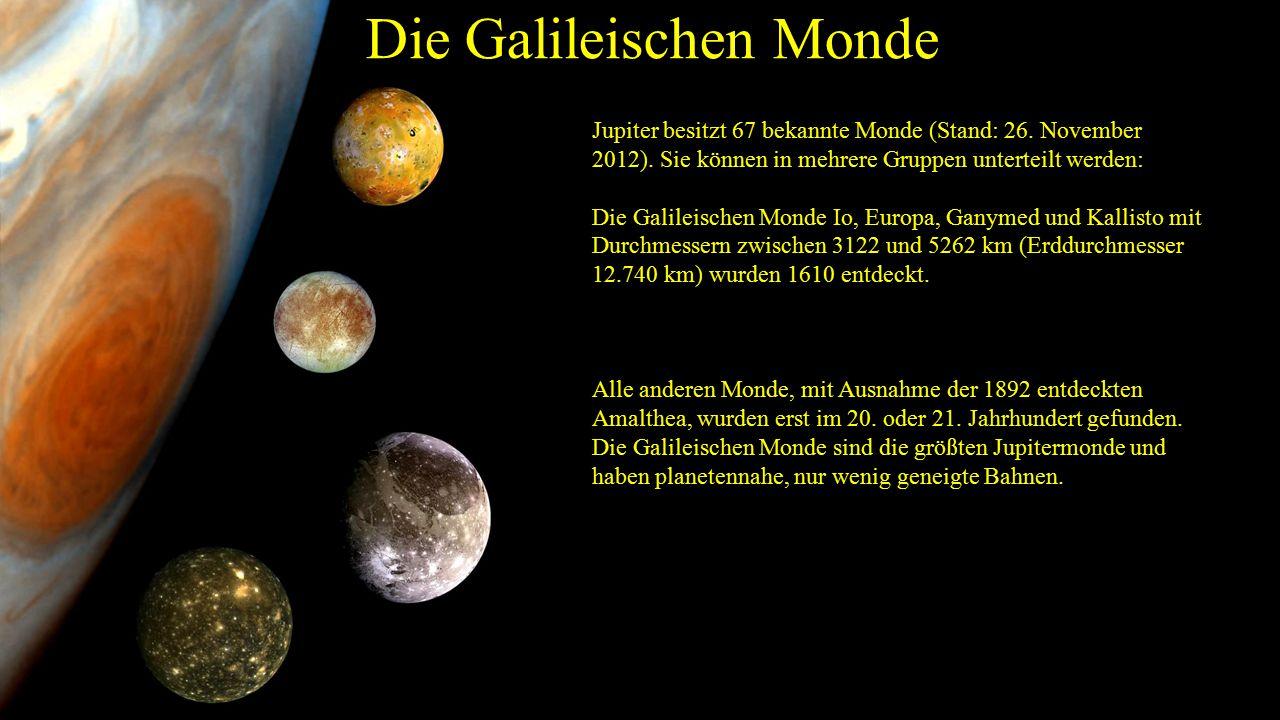Die Galileischen Monde Jupiter besitzt 67 bekannte Monde (Stand: 26.