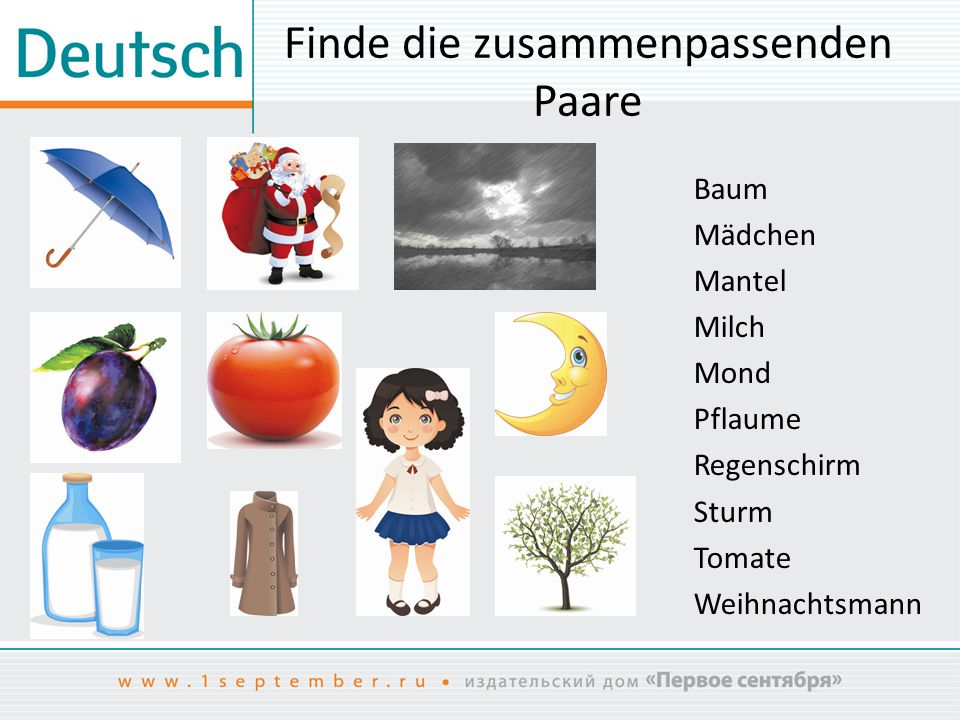Finde die zusammenpassenden Paare Baum Mädchen Mantel Milch Mond Pflaume Regenschirm Sturm Tomate Weihnachtsmann