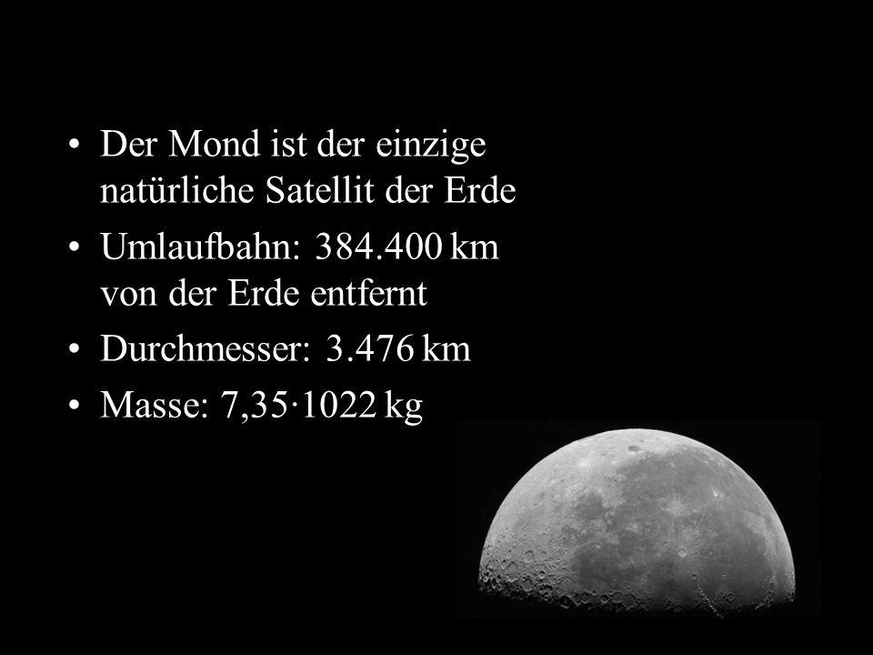 t Der Mond ist der einzige natürliche Satellit der Erde Umlaufbahn: 384.400 km von der Erde entfernt Durchmesser: 3.476 km Masse: 7,35·1022 kg