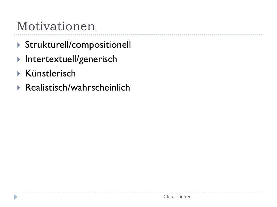 Motivationen Claus Tieber  Strukturell/compositionell  Intertextuell/generisch  Künstlerisch  Realistisch/wahrscheinlich