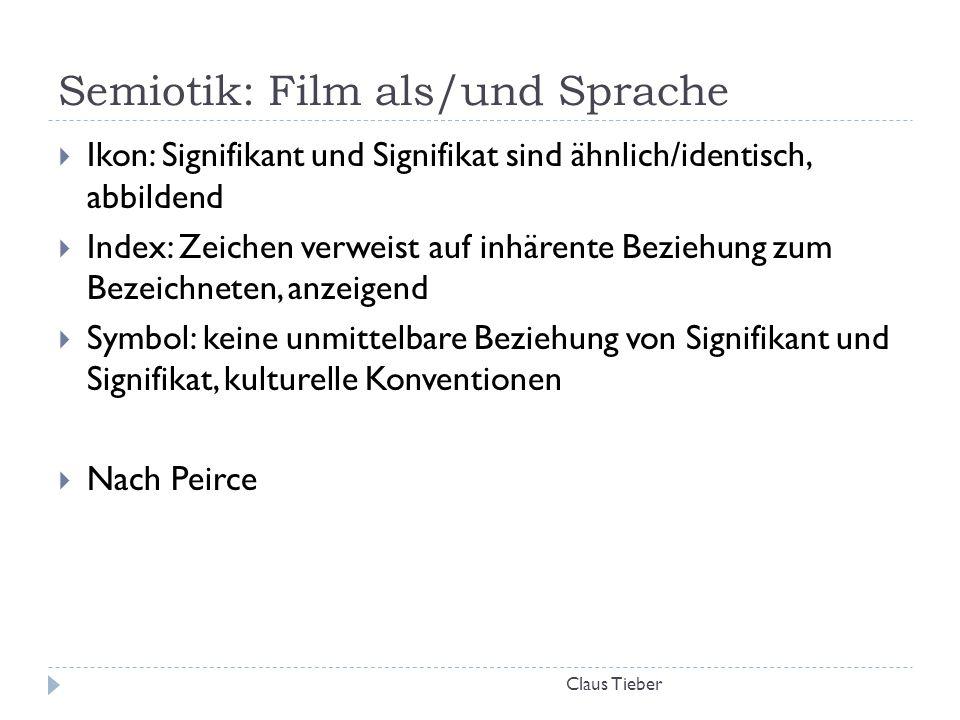 Semiotik: Film als/und Sprache Claus Tieber  Ikon: Signifikant und Signifikat sind ähnlich/identisch, abbildend  Index: Zeichen verweist auf inhären