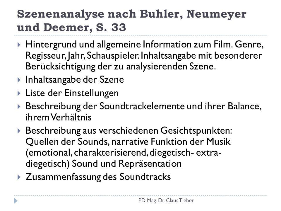 Szenenanalyse nach Buhler, Neumeyer und Deemer, S. 33  Hintergrund und allgemeine Information zum Film. Genre, Regisseur, Jahr, Schauspieler. Inhalts