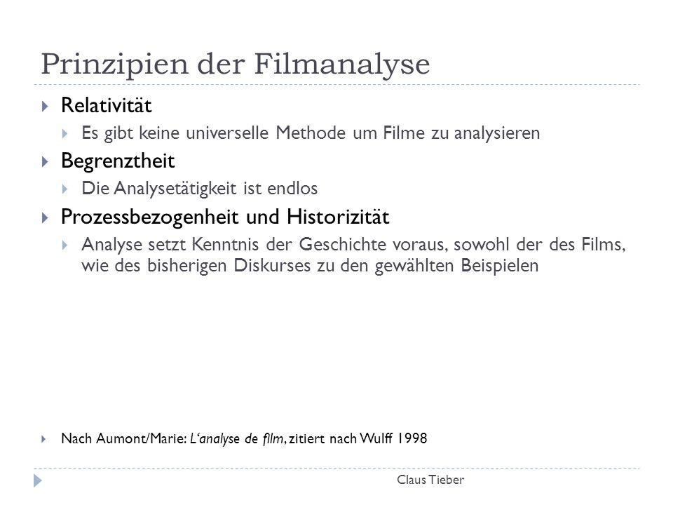 Prinzipien der Filmanalyse Claus Tieber  Relativität  Es gibt keine universelle Methode um Filme zu analysieren  Begrenztheit  Die Analysetätigkei