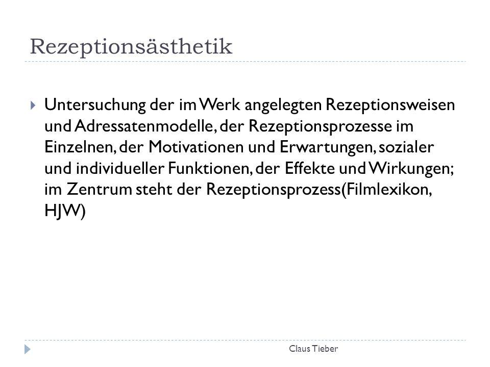 Rezeptionsästhetik Claus Tieber  Untersuchung der im Werk angelegten Rezeptionsweisen und Adressatenmodelle, der Rezeptionsprozesse im Einzelnen, der