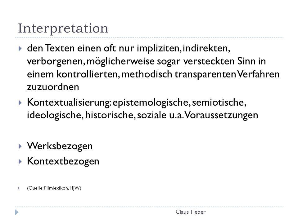 Interpretation Claus Tieber  den Texten einen oft nur impliziten, indirekten, verborgenen, möglicherweise sogar versteckten Sinn in einem kontrollier