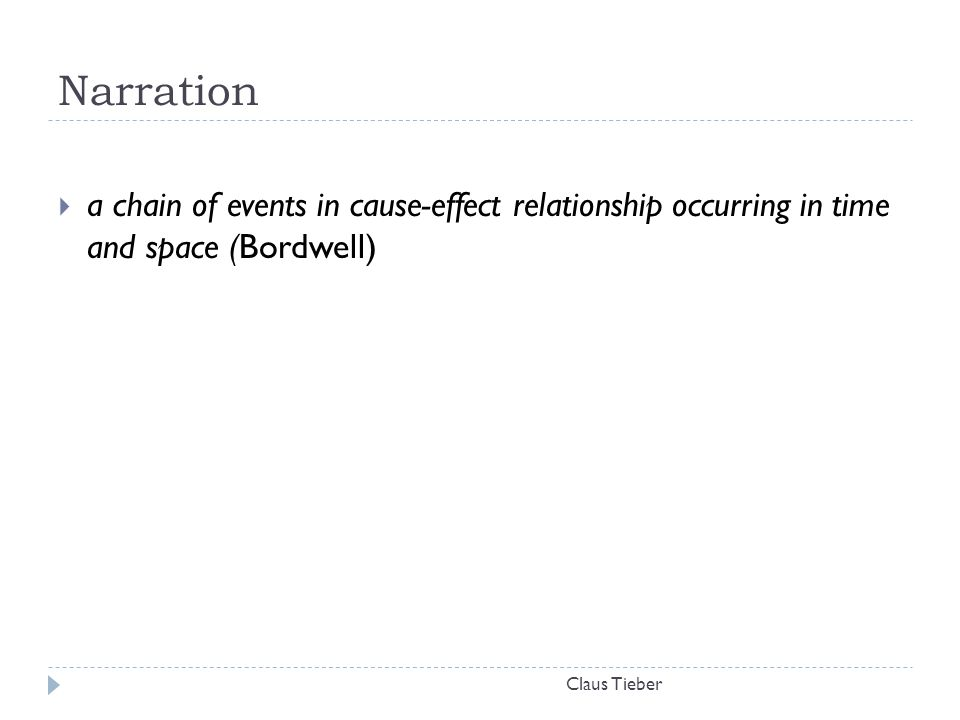 Narration Claus Tieber  a chain of events in cause-effect relationship occurring in time and space (Bordwell)