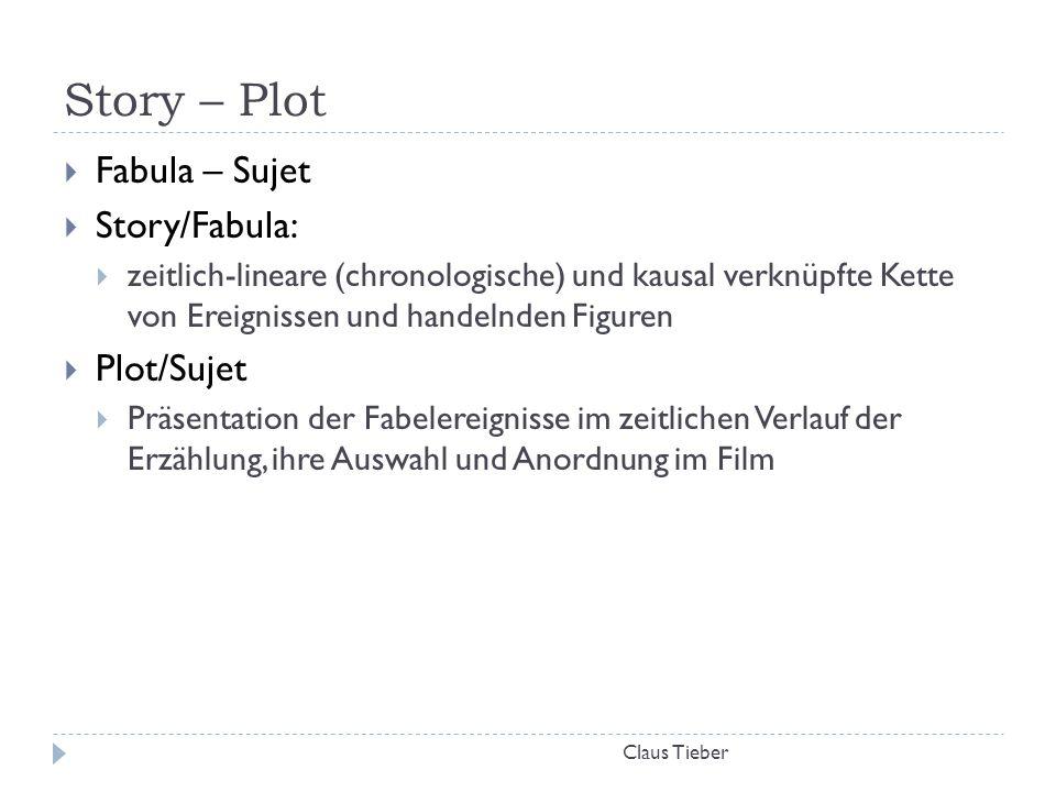 Story – Plot Claus Tieber  Fabula – Sujet  Story/Fabula:  zeitlich-lineare (chronologische) und kausal verknüpfte Kette von Ereignissen und handeln