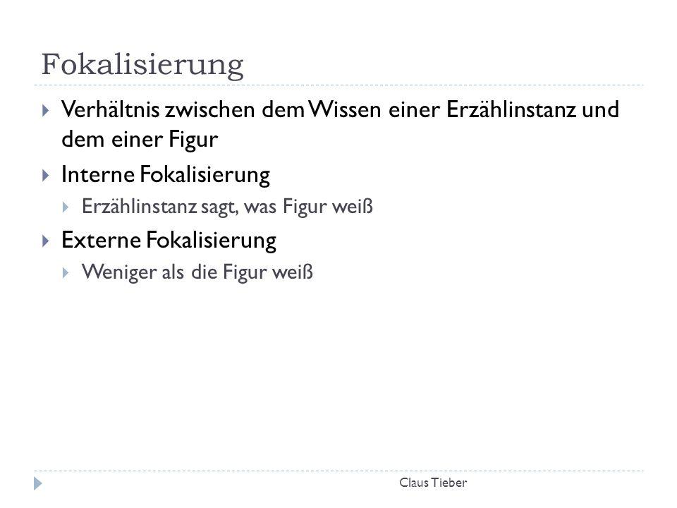 Fokalisierung Claus Tieber  Verhältnis zwischen dem Wissen einer Erzählinstanz und dem einer Figur  Interne Fokalisierung  Erzählinstanz sagt, was