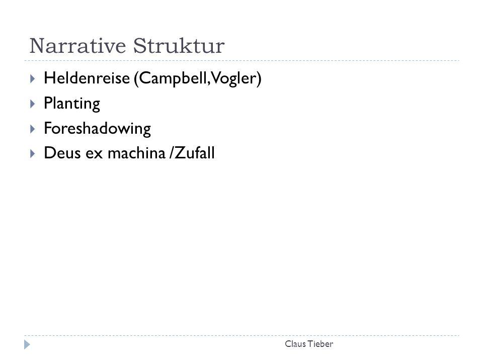 Narrative Struktur Claus Tieber  Heldenreise (Campbell, Vogler)  Planting  Foreshadowing  Deus ex machina /Zufall