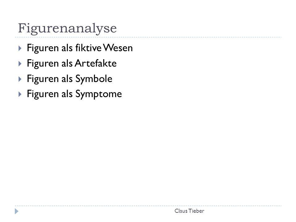 Figurenanalyse Claus Tieber  Figuren als fiktive Wesen  Figuren als Artefakte  Figuren als Symbole  Figuren als Symptome