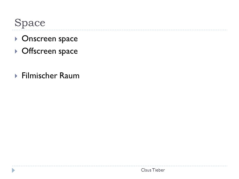 Space Claus Tieber  Onscreen space  Offscreen space  Filmischer Raum