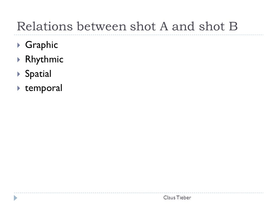Relations between shot A and shot B Claus Tieber  Graphic  Rhythmic  Spatial  temporal