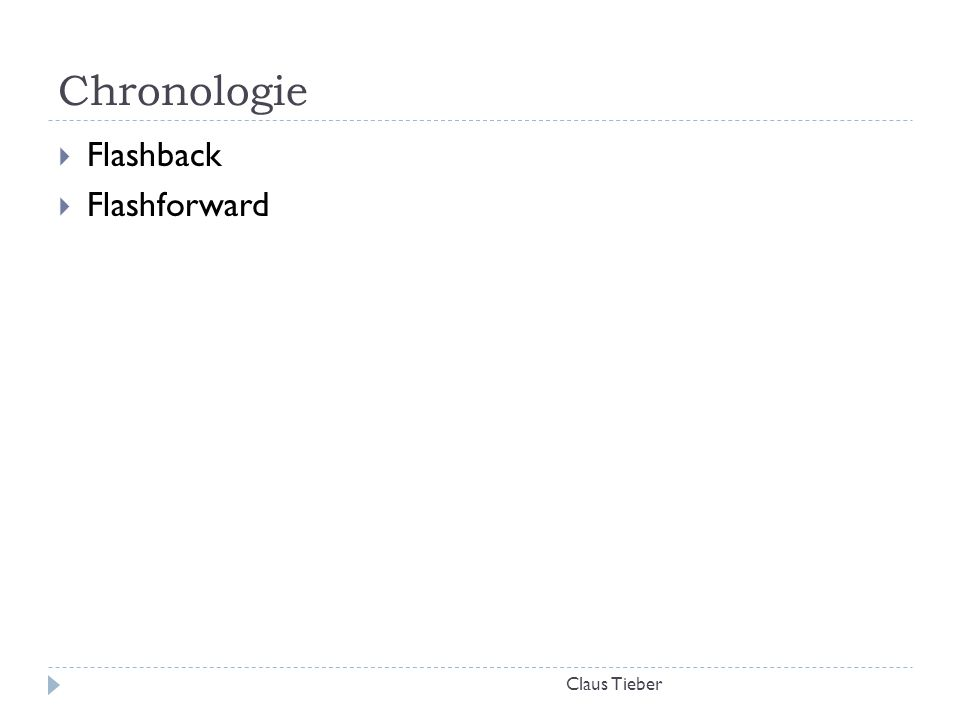 Chronologie Claus Tieber  Flashback  Flashforward