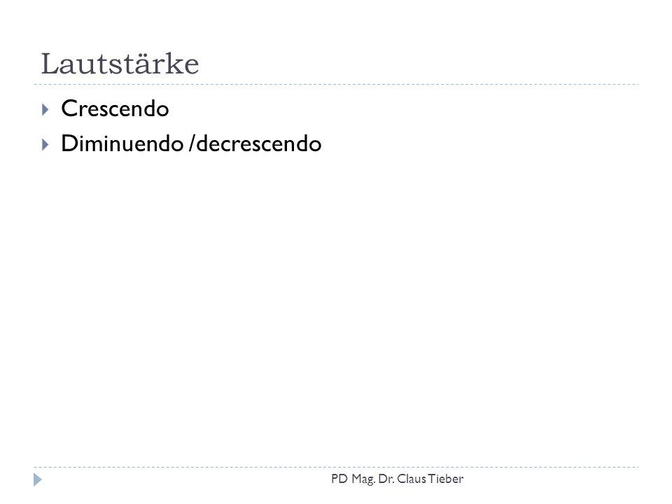 Lautstärke  Crescendo  Diminuendo /decrescendo PD Mag. Dr. Claus Tieber