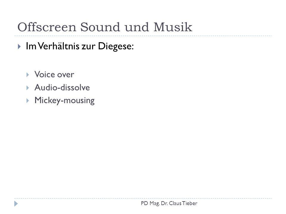 Offscreen Sound und Musik  Im Verhältnis zur Diegese:  Voice over  Audio-dissolve  Mickey-mousing PD Mag. Dr. Claus Tieber