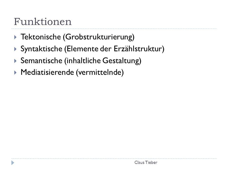 Funktionen Claus Tieber  Tektonische (Grobstrukturierung)  Syntaktische (Elemente der Erzählstruktur)  Semantische (inhaltliche Gestaltung)  Media