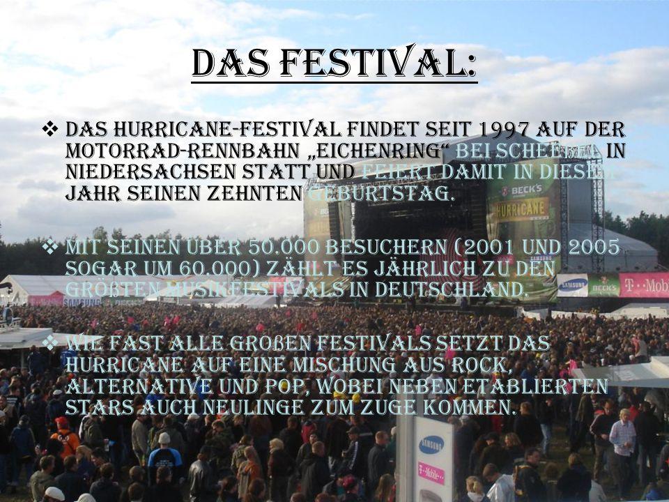 """Das Festival:  Das Hurricane-Festival findet seit 1997 auf der Motorrad-rennbahn """"Eichenring"""" bei Schee ß el in Niedersachsen statt und feiert damit"""
