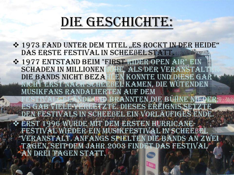 """Die Geschichte:  1973 fand unter dem Titel """"Es rockt in der Heide"""" das erste Festival in Schee ß el statt.  1977 entstand beim"""