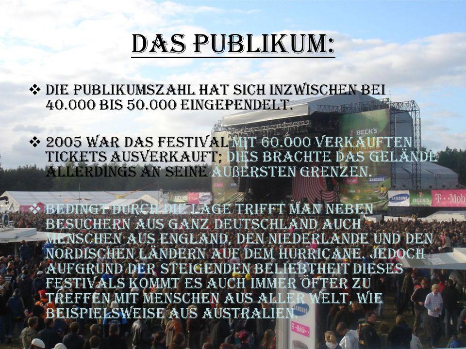 Das Publikum:  Die Publikumszahl hat sich inzwischen bei 40.000 bis 50.000 eingependelt.  2005 war das Festival mit 60.000 verkauften Tickets ausver