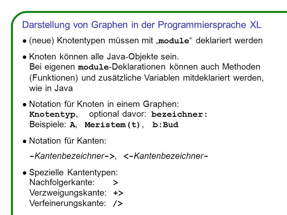 """Darstellung von Graphen in der Programmiersprache XL ● (neue) Knotentypen müssen mit """" module deklariert werden ● Knoten können alle Java-Objekte sein."""