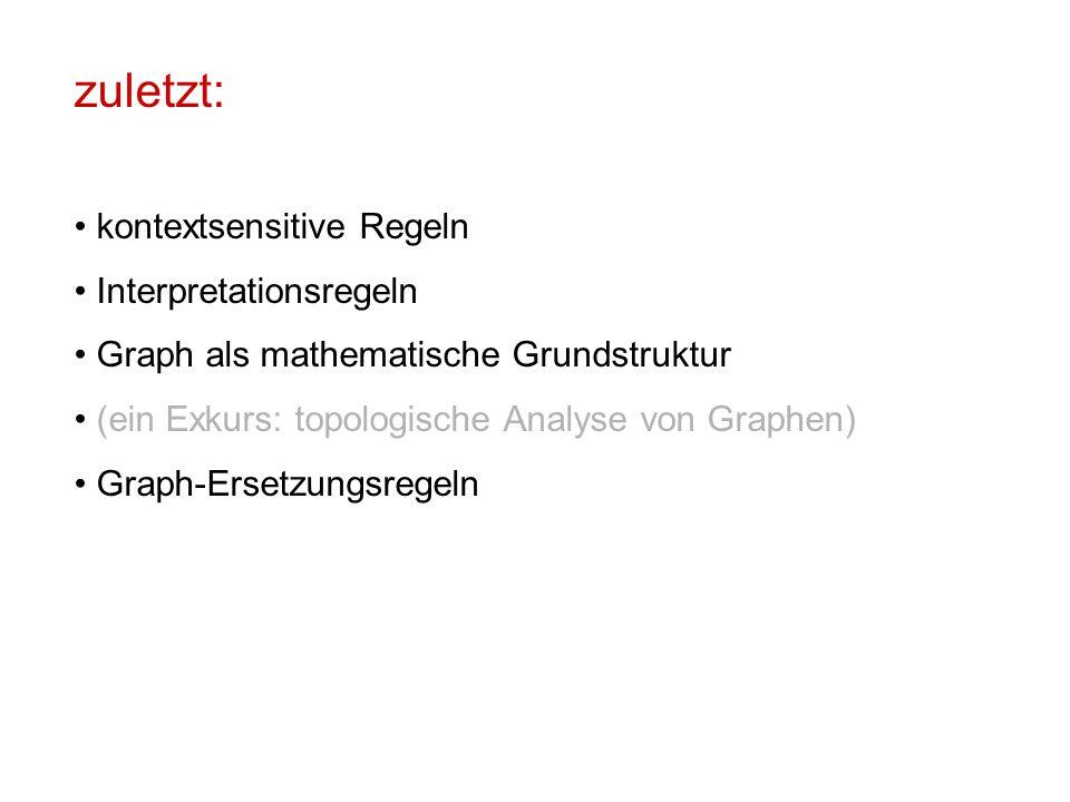 zuletzt: kontextsensitive Regeln Interpretationsregeln Graph als mathematische Grundstruktur (ein Exkurs: topologische Analyse von Graphen) Graph-Ersetzungsregeln