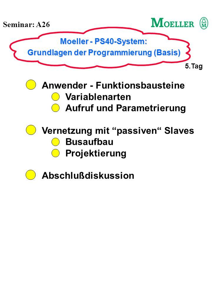 Seminar: A26 Moeller - PS40-System: Grundlagen der Programmierung (Basis) 5.Tag Anwender - Funktionsbausteine Variablenarten Aufruf und Parametrierung