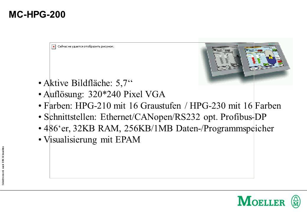 Schutzvermerk nach DIN 34 beachten MC-HPG-200 Aktive Bildfläche: 5,7'' Auflösung: 320*240 Pixel VGA Farben: HPG-210 mit 16 Graustufen / HPG-230 mit 16 Farben Schnittstellen: Ethernet/CANopen/RS232 opt.