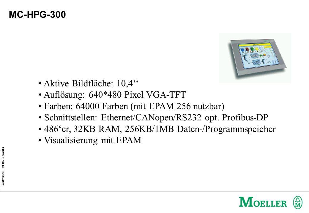Schutzvermerk nach DIN 34 beachten MC-HPG-300 Aktive Bildfläche: 10,4'' Auflösung: 640*480 Pixel VGA-TFT Farben: 64000 Farben (mit EPAM 256 nutzbar) Schnittstellen: Ethernet/CANopen/RS232 opt.