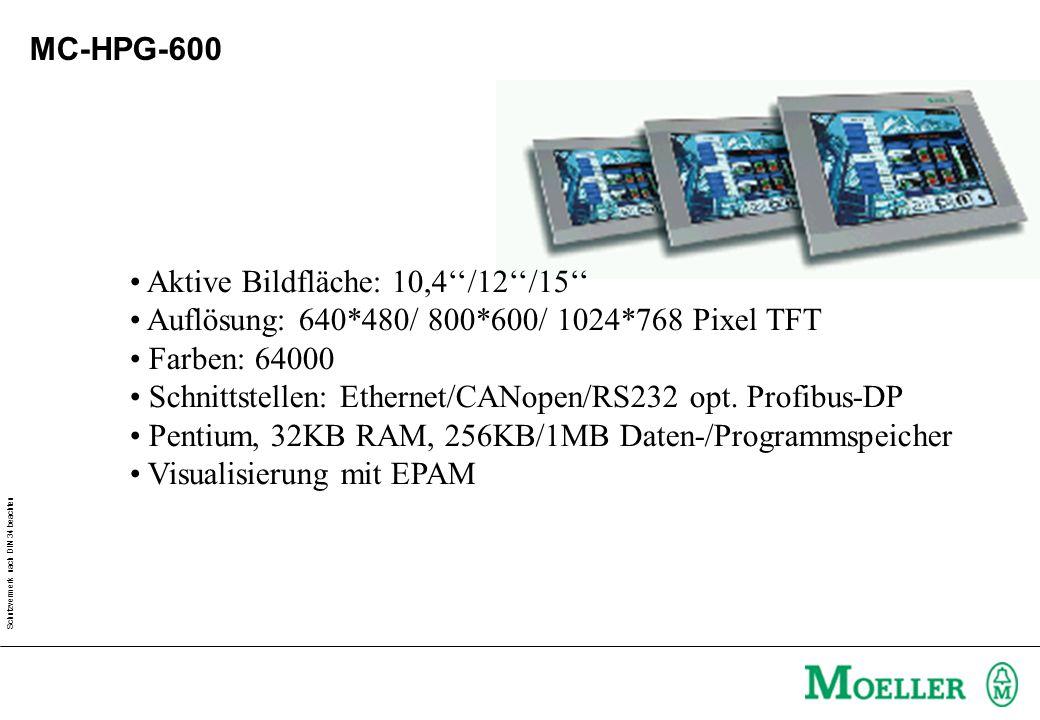 Schutzvermerk nach DIN 34 beachten MC-HPG-600 Aktive Bildfläche: 10,4''/12''/15'' Auflösung: 640*480/ 800*600/ 1024*768 Pixel TFT Farben: 64000 Schnittstellen: Ethernet/CANopen/RS232 opt.
